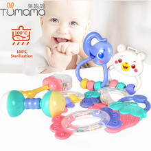 Купить с кэшбэком Tumama Hand Bells Baby Toys Rattle Ring Bell Toy Newborn Infant Early Educationa Cartoon Teether Tool 8PCS Doll Gift 0-12 Months