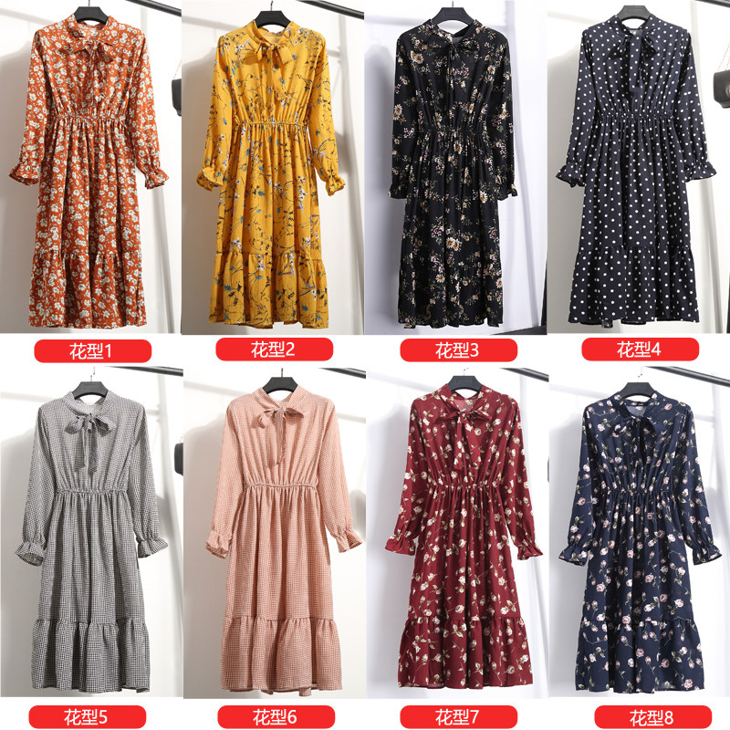 19 Autumn Winter Dress Women Chiffon Midi Casual Red Floral Long Sleeve Office Dress Polka Shirt For Ladies Dress Vestidos 18
