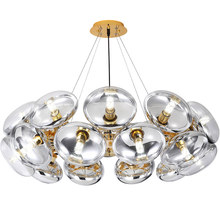 купить Nordic Pendant lights Villa Post modern Living room Designer Creative Clear glass shade Droplight Gold Chrome Iron hanging lamp по цене 55317.23 рублей