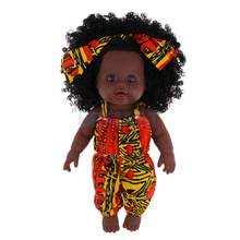 Realistic Vinyl Baby Girl Doll - Reborn 12inch African American Doll - Black Curly Hair Kids Birthday Gift Festival Present(China)