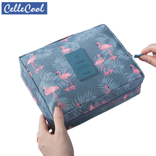CelleCool Flamingos Cosmetic Bag Travel Make Up Bag Zipper Clear Makeup Case Toiletry Wash Functional Organizer Storage Pouch цены онлайн