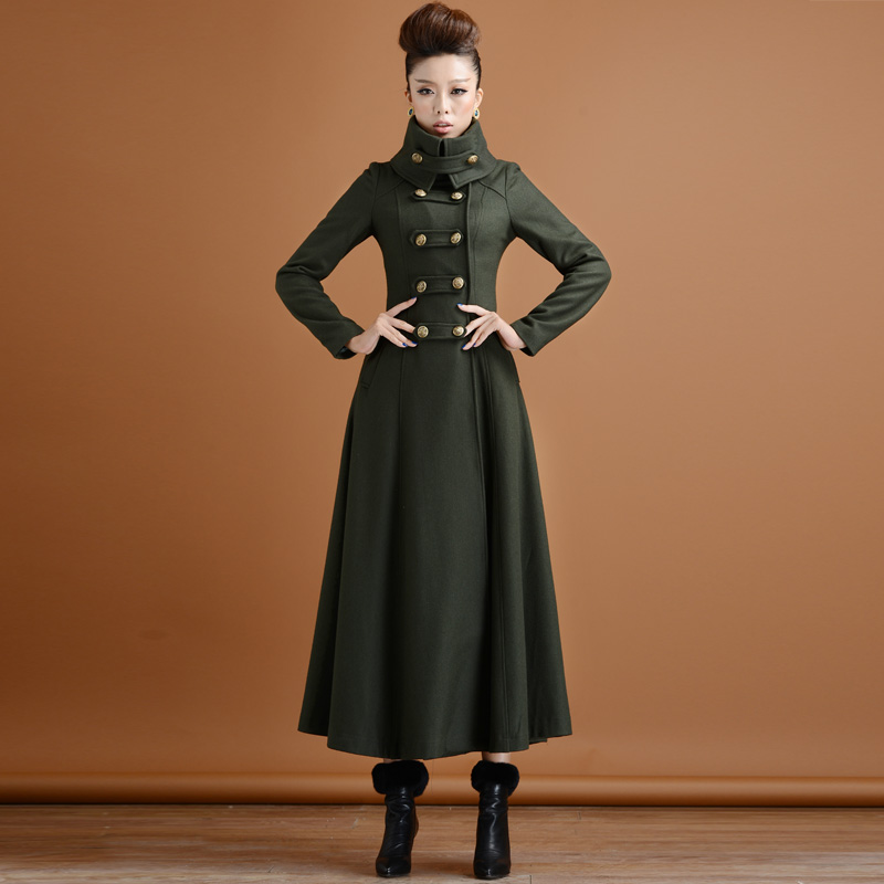 Double Breasted Woolen Coat Female Military Style Winter Thickening Women's High Collar Was Thin Long Cashmere Warm Woolen Coats
