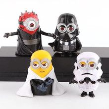 4pcs/set 8cm cute Minion Cos star wars  Maul Darth Vader Stormtrooper Luke Skywalker PVC Action Figures Toys Christmas gift