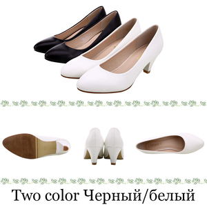 Image 3 - YALNN Big Size Women High Heels Pumps Daily Shoes 3/5/7CM Heels White Black Thin Heels Pointed Toe Slip on Women shoes