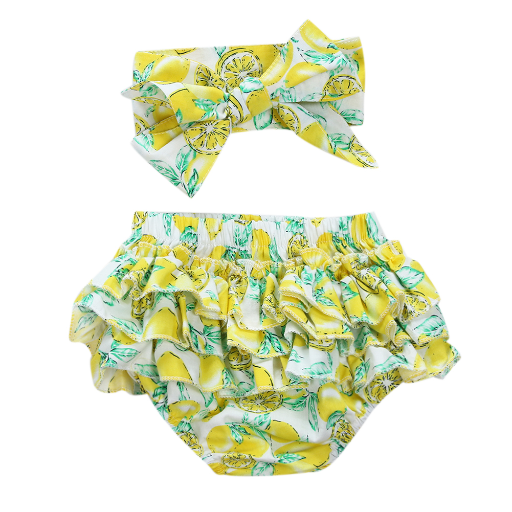 Lovely Flounce Ruffle Baby Girls Floral Briefs + Bow-knot Headband Cute Summer Beach Swimwear Short Pants Clothes Set