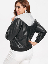 Women's Plus Size Motorcycle Faux Leather Hooded Jacket