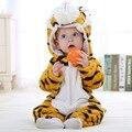 2016 Muchachas de Los Muchachos Del Mono Infantil Del Mameluco Del Bebé Recién nacido Bebe Mameluco Del Bebé Trajes de Ropa de Niño Con Capucha Ropa de Bebé Lindo de Los Tigres