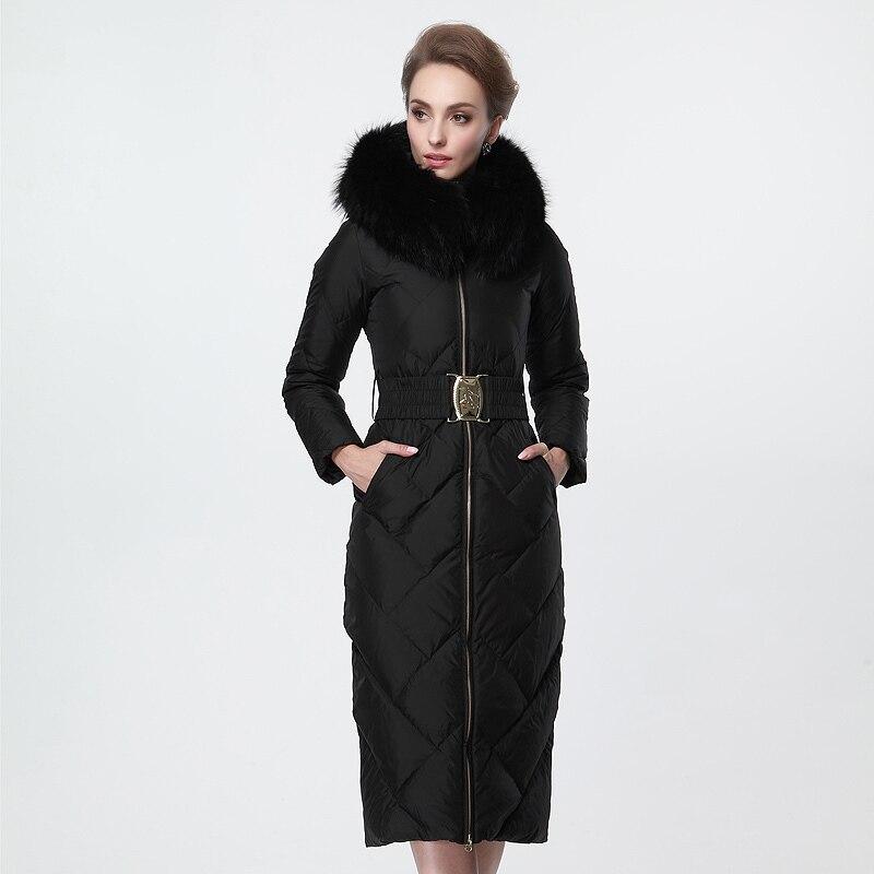 Plus Black 2016 Winter Jacket Women down Jackets Womens X-long Goose Down coat thicken Real Fur Hooded luxury Outerwear Parka