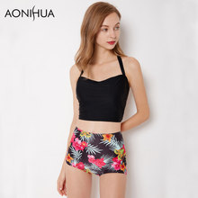 AONIHUA Halter Bikini Set Women 2018 High Waist Vintage Floral Print Thong Crop Top Swimwear Swimsuit Female Swimming Suit XXL цена 2017