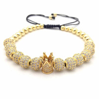 1 Pcs New Famous Brand Woman Crown Bracelet 8mm Micro Pave CZ Braiding Woman Macrame Bracelet