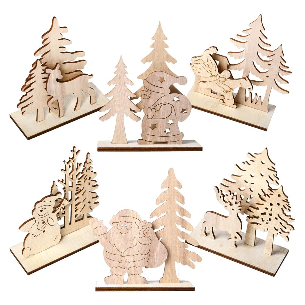 FENGRISE Wooden Christmas Ornament Santa Claus Elk Tree Christmas Decoration For Home Navidad 2019 Christmas Gift New Year Decor