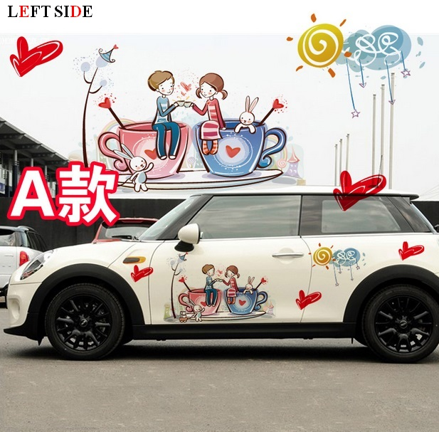 Left side car stickers romantic car sticker lovers cute cartoon sticker custom made body decal sticker suit non discolouring in car stickers from