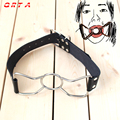 Leather Open Mouth Gag Metal O Ring Gag Oral Fixation Mouth Plug Stuffed Head Bondage Restraints Adult Game Sex Toys for Couples