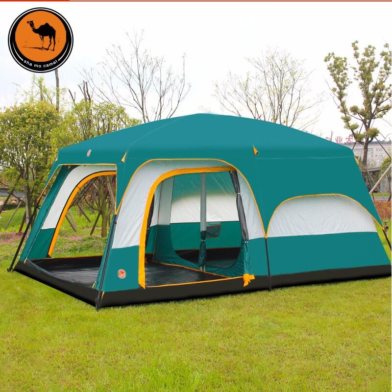 Ultralarge 6 10 12 person double layer outdoor 2 living rooms and 1 hall family camping tent high quality outdoor 2 person camping tent double layer aluminum rod ultralight tent with snow skirt oneroad windsnow 2 plus