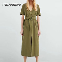 vintage women dress half sleeve v neck solid A line sashes ealstic waist ladies dresses mid calf pleated summer new vestidos
