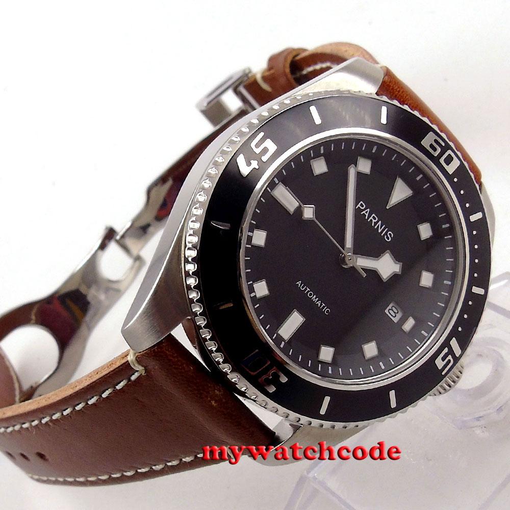 43mm Parnis black dial black bezel date miyota automatic diving mens watch 591C цена и фото