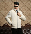 2015 New male faux mink fur coat, Men white zipper fur coats warm jacket,High-grade thick mink fabric overcoats free shipping