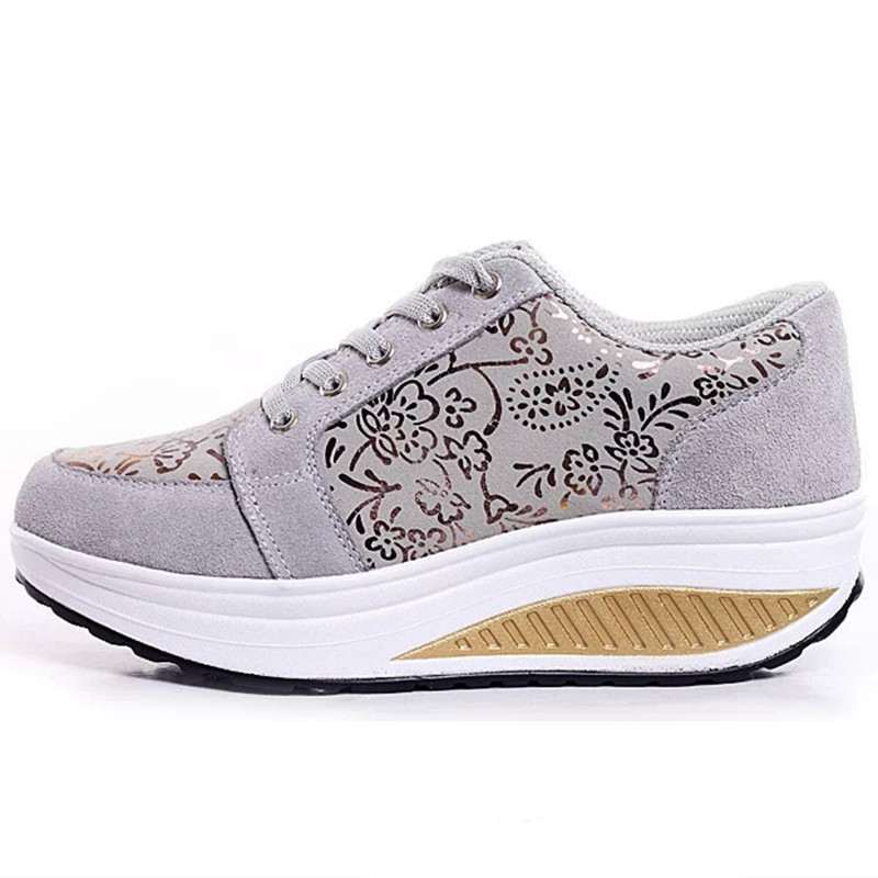 Black Pour 1 Printemps Chaussures Fuax 1 gray Marche Femme Plat Automne 2018 1 Compensées Suede forme hot Femmes Qualité Creepers Floral Sneakers Plate Pink 4IUqTKT