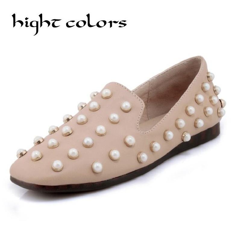Pearl Rivets Women's Shoes Flat 2018 Loafers Women Fashion Slip-on Flat Shoes For Woman Spring Autumn Casual Shoes Black Whie suojialun spring women loafers cane hemp straw fisherman flat heel shoes woman slip on casual fashion flower shoes