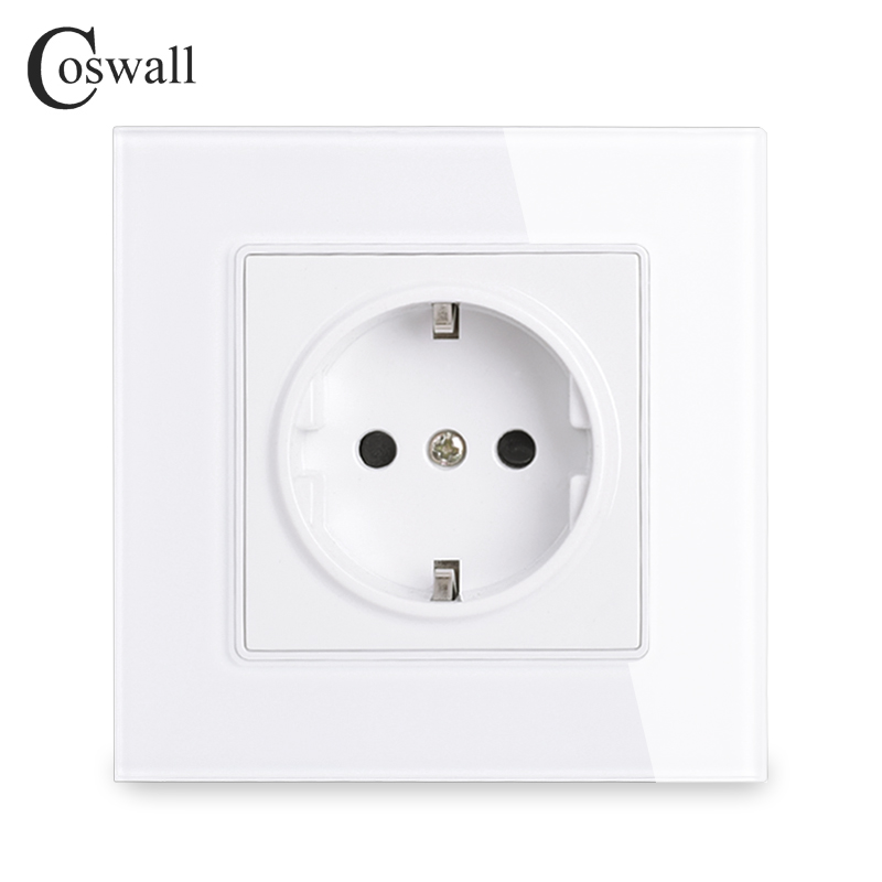 coswall-wall-crystal-glass-panel-power-socket-plug-grounded-16a-eu-standard-electrical-outlet-86mm-86mm