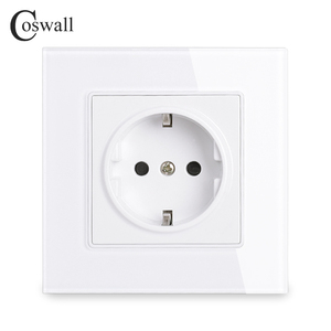 Coswall Wall Crystal Glass Panel Power Socket Plug Grounded, 16A EU Standard Electrical Outlet 86mm * 86mm
