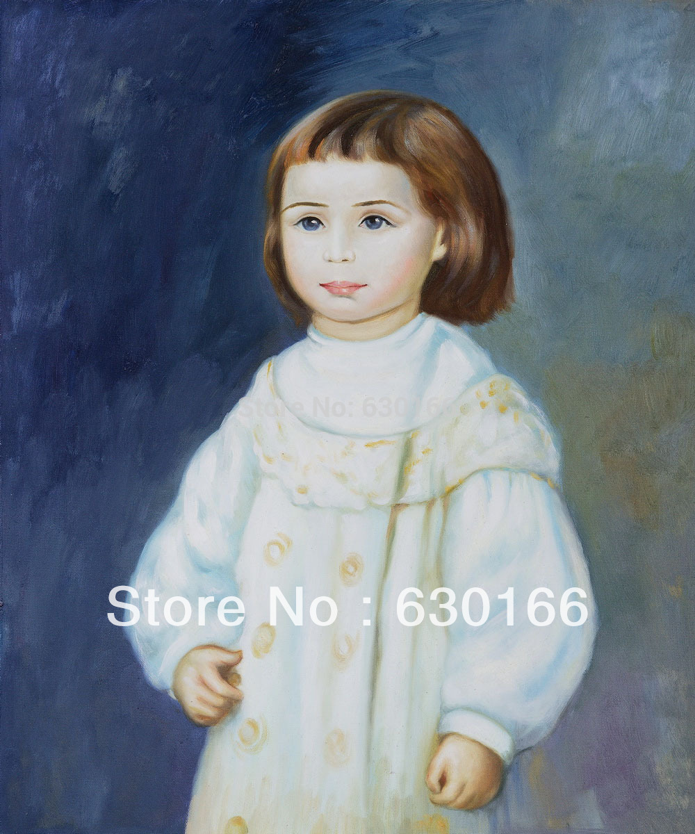 Original Figure Oil Paintings - Lucie Berard (Child in White), 1883 by Pierre Auguste Renoir Painting 100% Handpainted VerticalOriginal Figure Oil Paintings - Lucie Berard (Child in White), 1883 by Pierre Auguste Renoir Painting 100% Handpainted Vertical