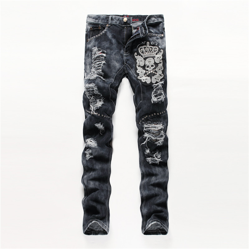Fashion designer punk rock men straight jeans ripped patchwork embroidery skulls rivets gray trousers hip hop biker denim pants