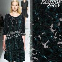 Hochwertige Neue Mode Luxus Samt Verdickung Schwarz-grüne Spitze Kleidung Herbst Kleid Stoff Großhandel Ad Rtail OEM