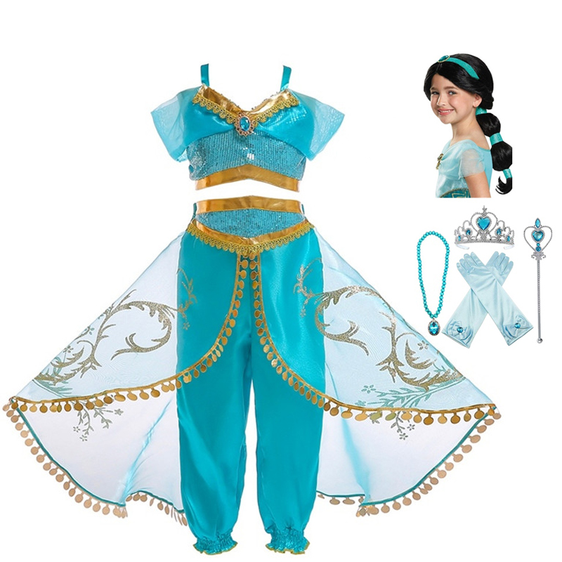 Jasmine Costume Christmas Children's Dress Aladdin's Lamp Magic Cosplay Costume Jasmine Princess Girls Dress Role Costume Set