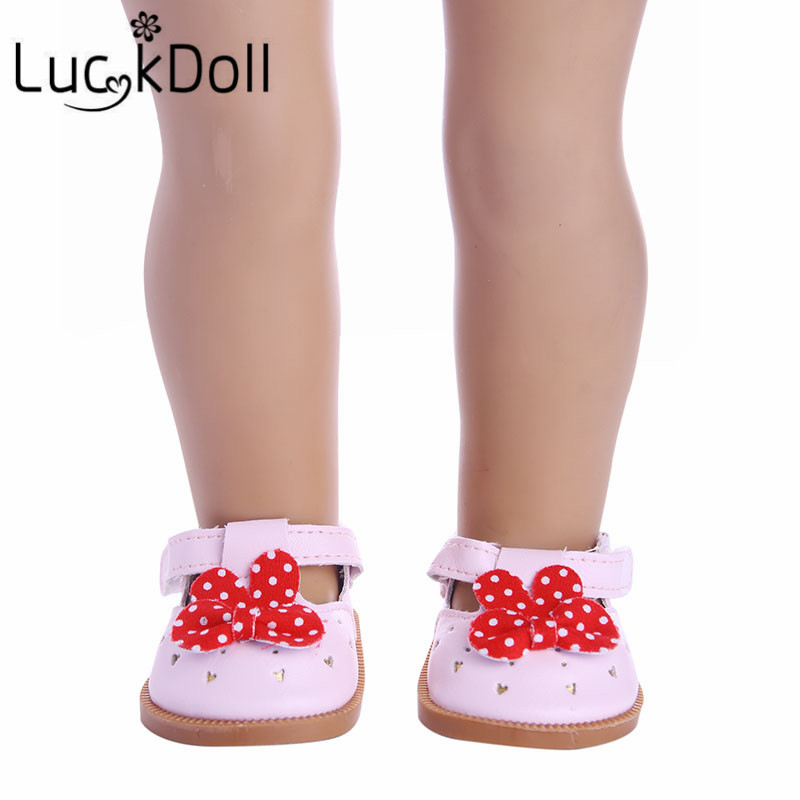 New arrive Cute leather shoes with bow tie fit 18 inch American girl doll\doll accessories gift for children
