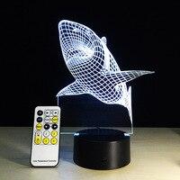 כריש לבן 3D מגע או מרחוק מגע שולחן LED לילה אור מנורת שולחן 7 USB שינוי הצבע LED מטען כרטיס תכליתי מתנה
