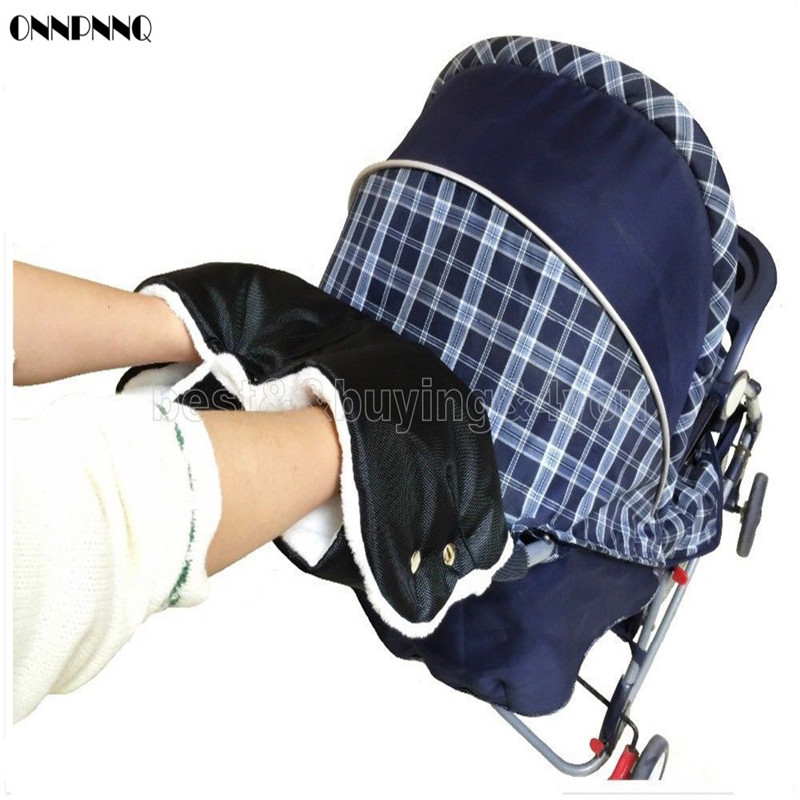 ONNPNNQ Baby Stroller Warm Gloves Winter Wind And Cold Plus Wool Velvet Trolley Gloves