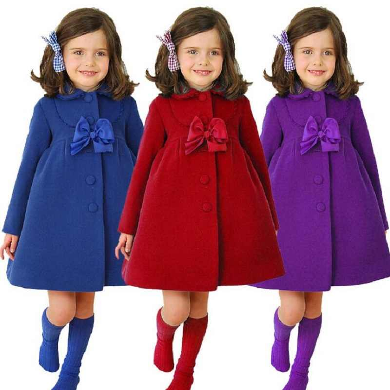 3Color Girls Winter Warm Coats&Jacket,Children Winter High quality Solid Long sleeve Wool coat,Baby Girls Outwear For 3-8Yrs