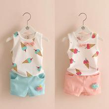 New Sweet Summer Baby Girls Clothing Set Popsicle Style Kids Girl Clothes Cute Ice Cream Hole T-shirt and Bow Short Suit