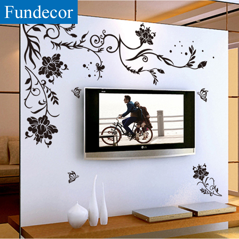 Fundecor] black butterfly vite fiore wall stickers home decor camera ...