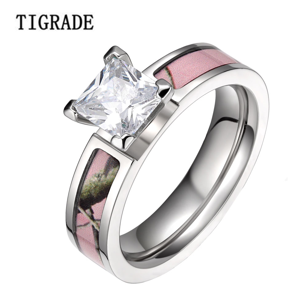 5mm Romantic Pink Pohon Camo Cubic Zirconia Titanium Rings Wanita Engagement Wedding Band Mode Cincin Perhiasan aneis feminino Sale