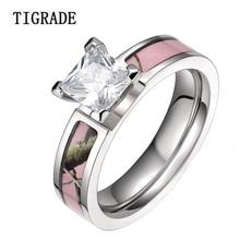 5mm de color rosa romántico árbol camo cúbicos zirconia titanium wedding band anillos mujer anillos de compromiso anillo de la manera joyería anéis feminino venta