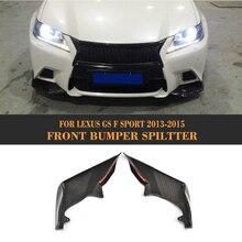 Car Front Bumper Splitter for Lexus GS F Sport Sedan 4 Door GS350 2013-2015 Carbon Fiber Flaps Apron Lip Spoiler Car Sticker
