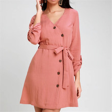 2019 Lente Herfst Vrouwen Mini Jurk Casual Solid V-hals Button Dress Fashion Office Bandage Jurken Korte Pure Zonnejurk(China)