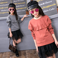 2017 Baby Girl Spring Cute T-shirt Ruffles Design Solid Kid Pullover Hoodies Solid Color O-neck Children Cotton Top Tees Clothes