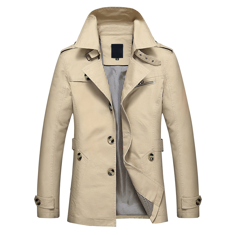 YUNCLOS Autumn Winter Mens Trench Coat Single-breasted Long Coat Windproof Slim Trench Coat For Men Plus Size Overcoat