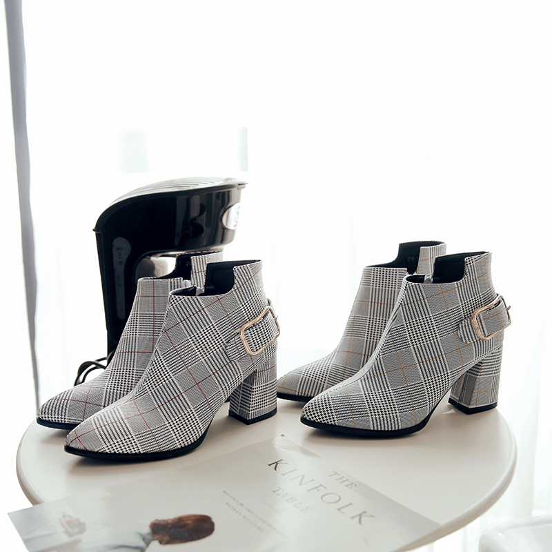 Women's Boots, Fashion Plaid Pointed Toe High Heels, Winter Ankle Boots 9