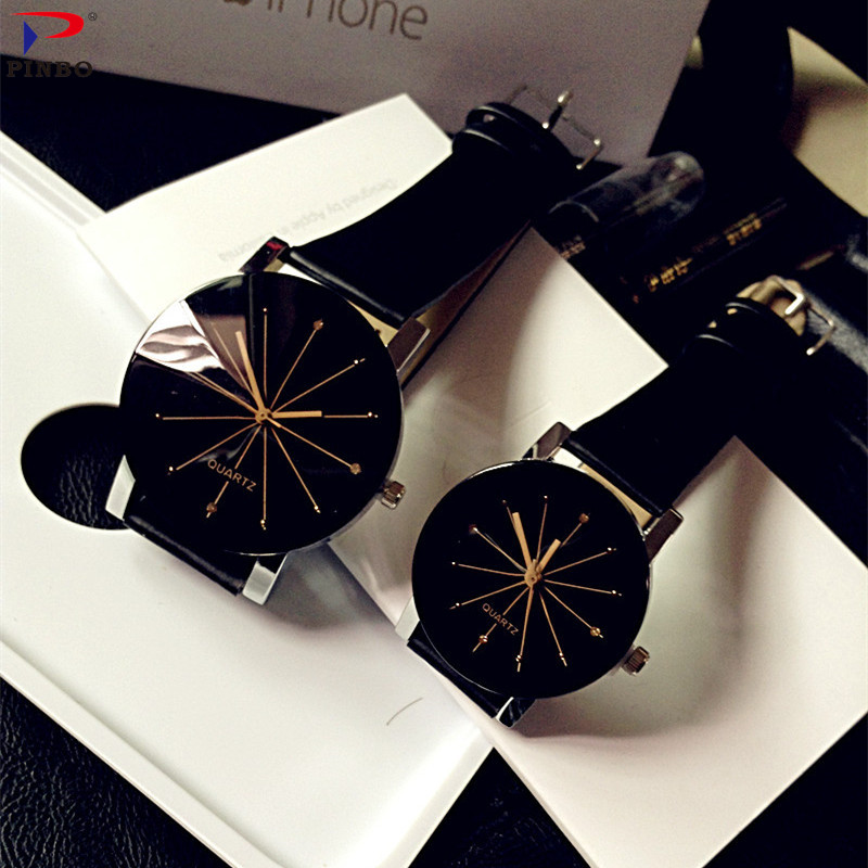 Relogio Feminino  Fashion Luxury Couple Quartz Watch Dial Hour Digital Women Watches Men Leather Wristwatches Clock Lady Gift(China)
