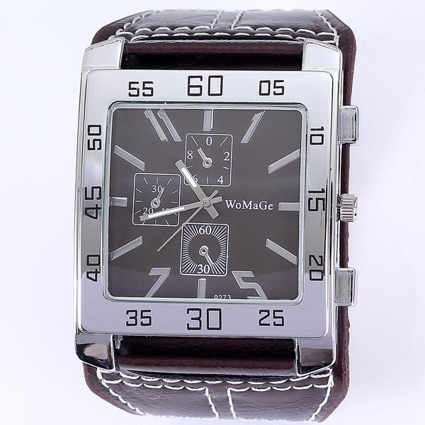 где купить womage men wristwatch big watch Water Resistant Quartz Movement Analog Watch with Faux Leather Strap по лучшей цене