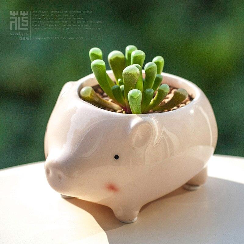 Kawaii Little Animals Ceramic Flowerpot Pink Pig Planter