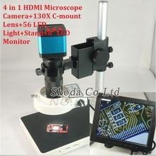"""4en1 14MP CMOS Microscopio Cámara HDMI USB salidas 130X c-mount Lente LLEVÓ la Luz de 8 """"HD LCD Monitor Industrial microscopio cámara"""