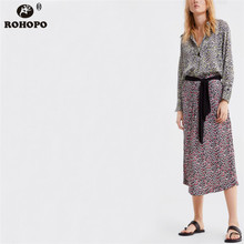 ROHOPO Women Leopard Midi Skirt Belted Bow Female Pleated Printed Maxi Skirts Streetwear Girl Casual Bottoms #OYK9629