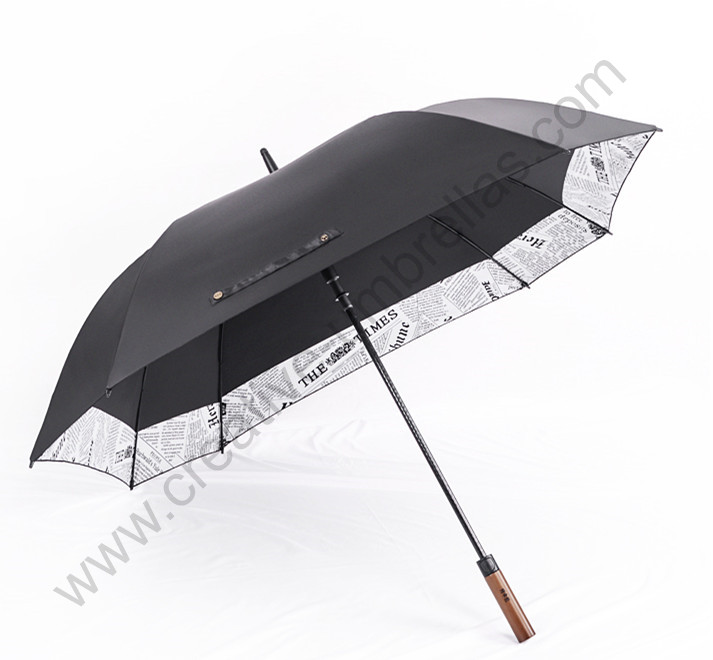 135 cm auto ouvert solide en bois anti-tonnerre coupe-vent parapluie de golf double couche frontière reliant carré journal anti-uv canopy