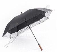 135cm auto open solid wooden anti thunder windproof golf umbrella double layer border linking square newspaper anti uv canopy