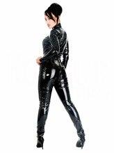 2017 Sexy Black Catwoman Jumpsuit Zentai Costume 100% PVC Leotard Dress Latex Catsuit Teddy Lingerie Lady Nightclub Bodysuit